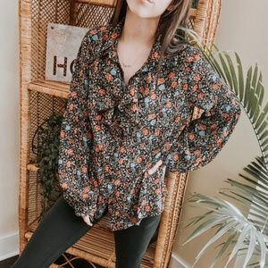 Free People Floral Ruffle Long Sleeve Blouse